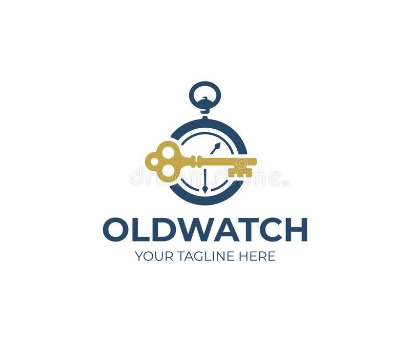 Старый карманного шаблон логотипа вахты и ключа Винтажный дизайн ключа и вектора часов иллюстрация штока
