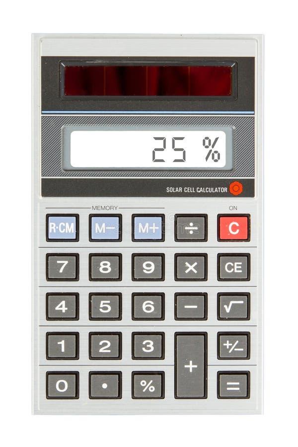 Старый калькулятор показывая процент - 25 процентов стоковое фото rf