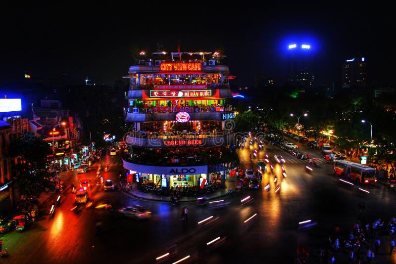 Старый квартальный взгляд ночи - Ханой стоковые фотографии rf