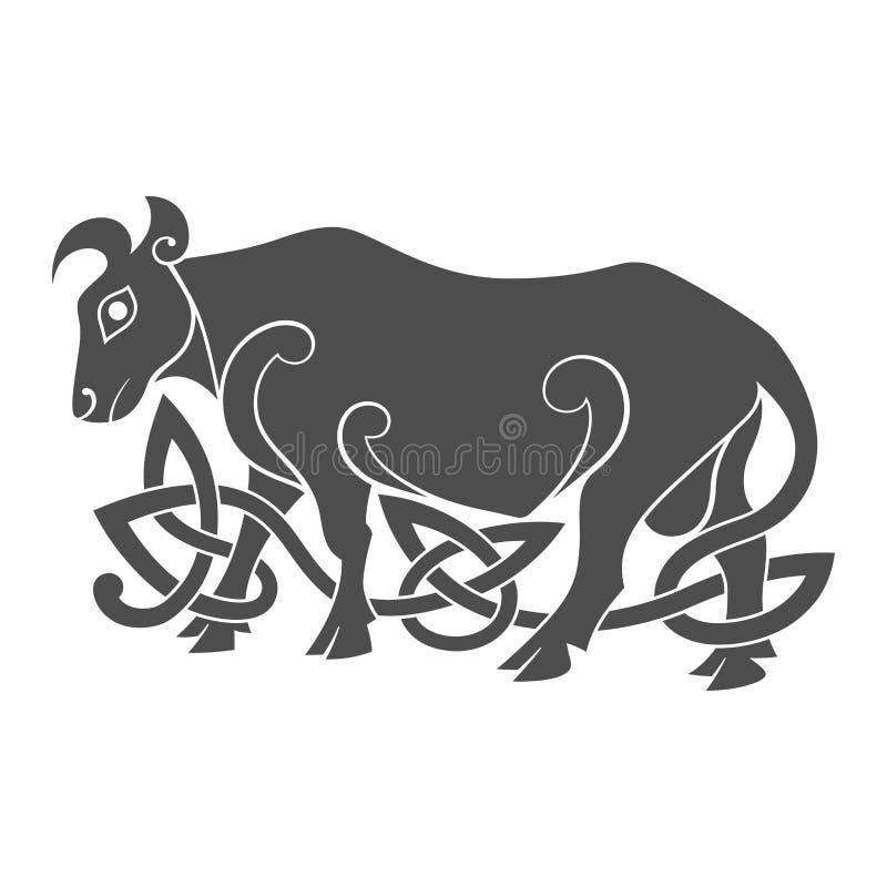 Старый кельтский мифологический символ быка иллюстрация штока