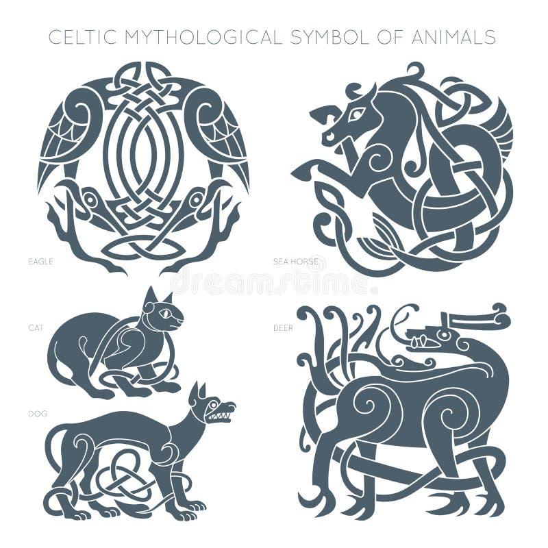 Старый кельтский мифологический символ животных Illustrati вектора иллюстрация вектора
