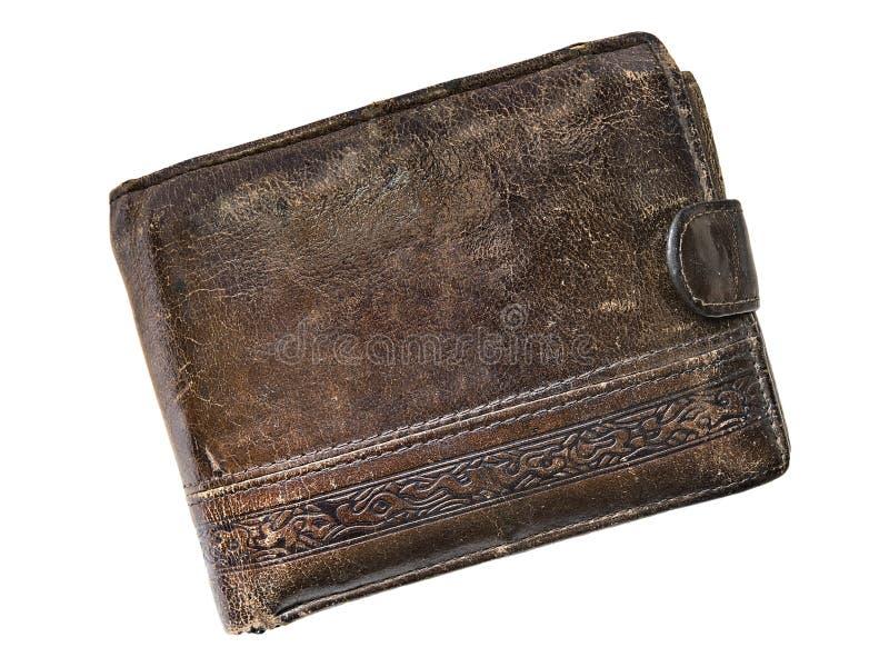 Старый кожаный бумажник изолированный на белой предпосылке стоковое изображение rf