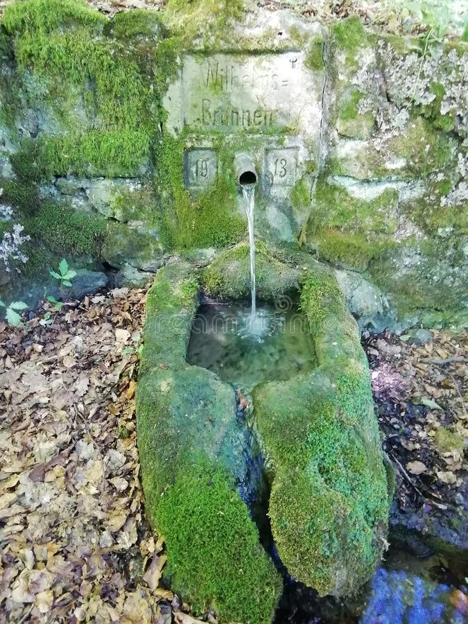 Старый колодец в немецком лесе со свежей холодной водой стоковая фотография