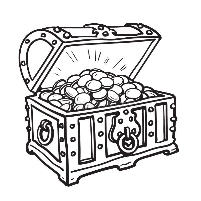 Старый комод с золотыми монетками иллюстрация штока
