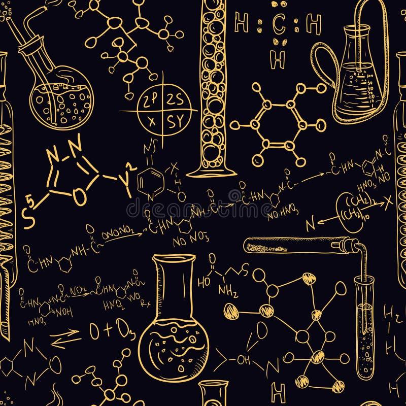 Старый комплект картины лаборатории химии безшовный Винтажный чертеж руки предпосылки вектора бесплатная иллюстрация