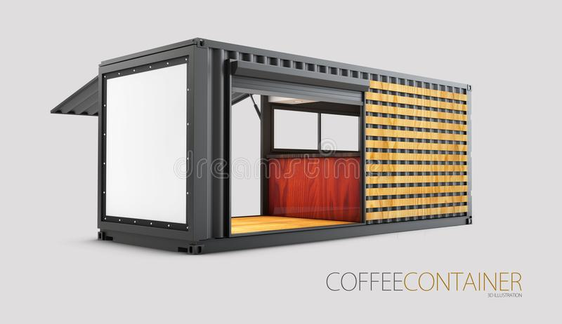 Старый контейнер для перевозок преобразован в шикарную кофейню, иллюстрацию 3d иллюстрация вектора