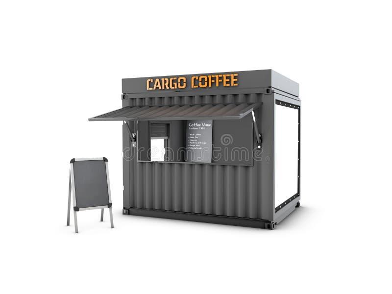 Старый контейнер для перевозок преобразован в шикарную кофейню, иллюстрацию 3d иллюстрация штока