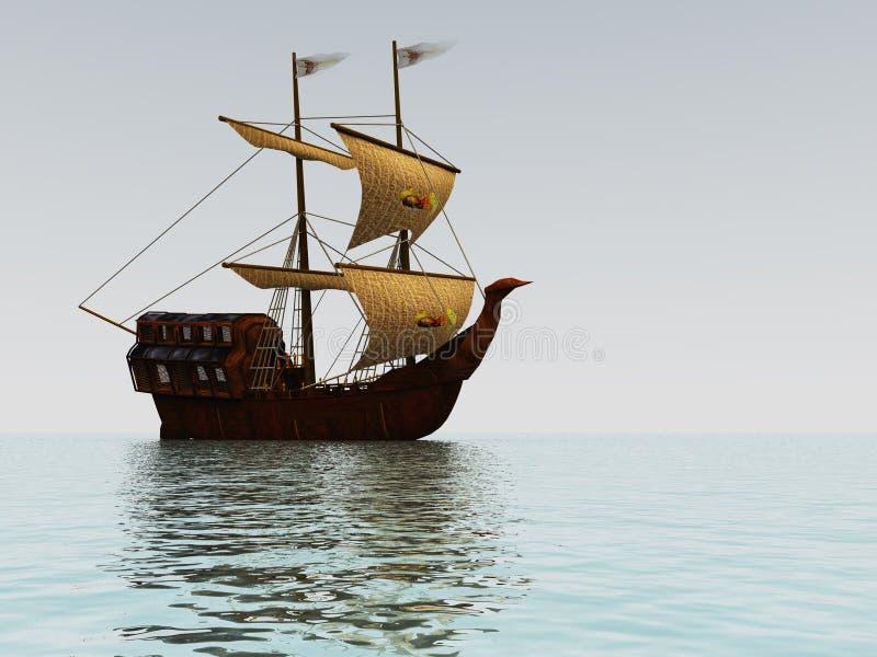 старый корабль sailing иллюстрация штока