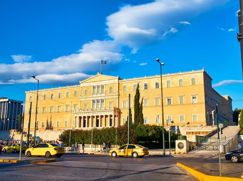 Старый королевский дворец, греческое здание парламента Квадрат синтагмы, Афины стоковое изображение rf