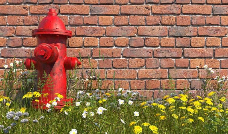 Старый красный пожарный гидрант стоит в траве с wildflowers напротив кирпичной стены r Иллюстрация с космосом экземпляра 3D r бесплатная иллюстрация