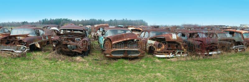 Старый классический автомобиль, автомобили, Junkyard стоковые изображения