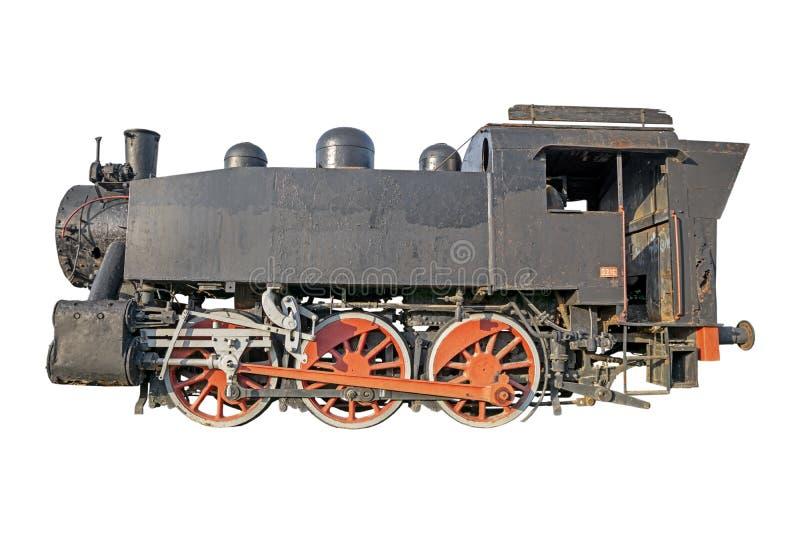 Старый локомотив пара, винтажный поезд изолированный на белизне стоковая фотография
