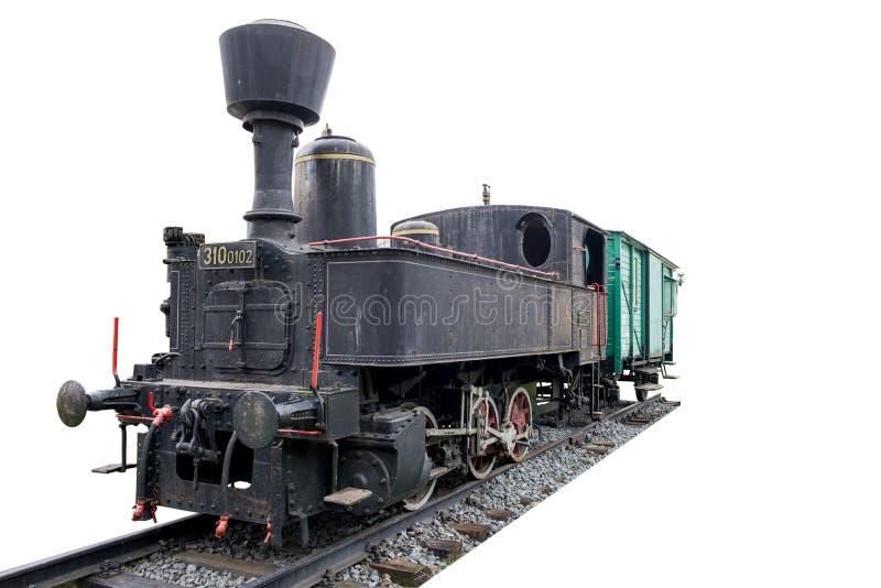 Старый локомотив пара при тренер на следах и изолированный на белой предпосылке стоковая фотография rf