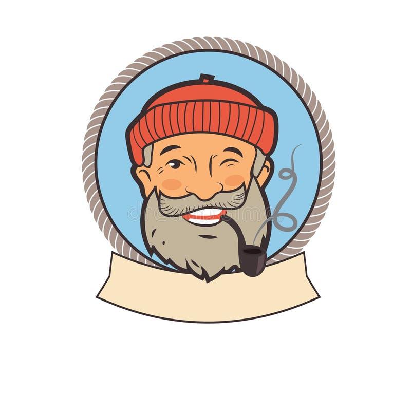 Старый матрос с трубой Характер портрета Ярлыки вектора рыбной ловли Старые татуировки матроса Старое изображение матроса бесплатная иллюстрация