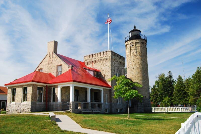 Старый маяк пункта Mackinac стоковое фото