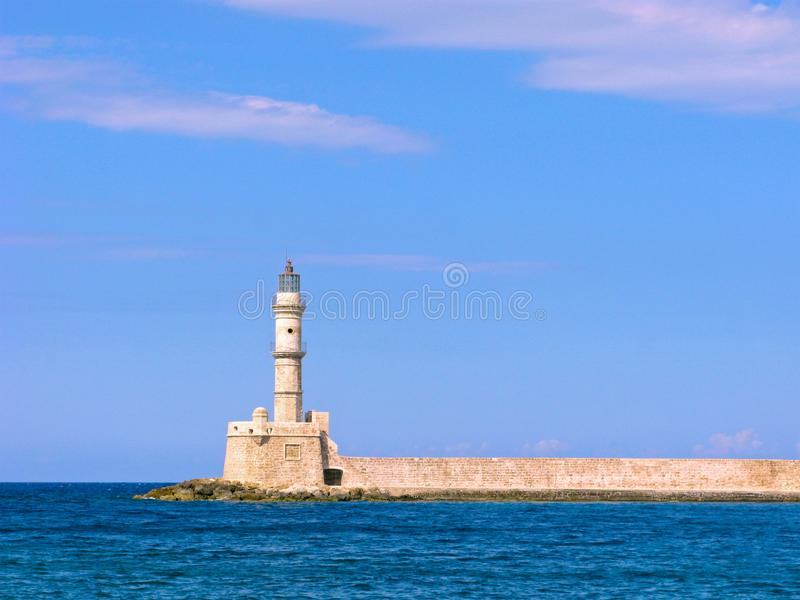 Старый маяк Chania, Крита, Греции стоковое изображение