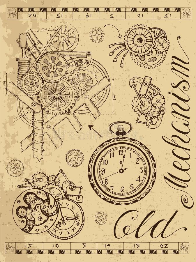 Старый механизм часов в стиле steampunk иллюстрация штока