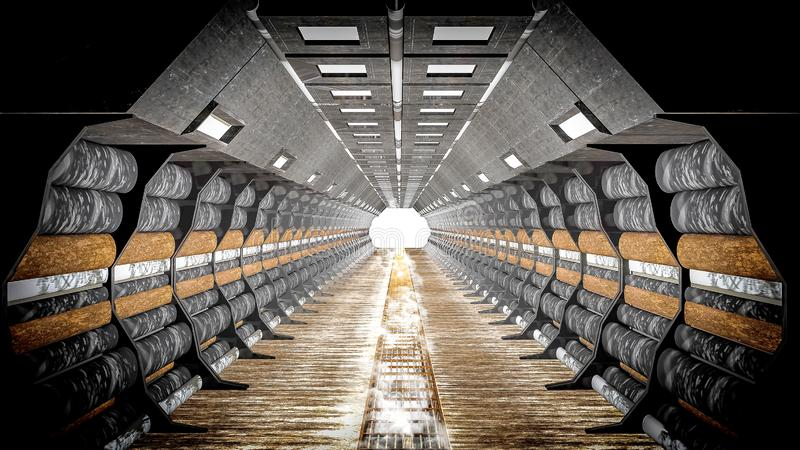 Старый минируя коридор цилиндра тоннеля загоренный со светами пятна стоковая фотография