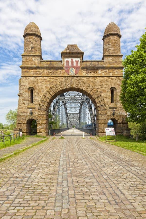 Старый мост Эльбы на Гамбурге стоковое изображение rf