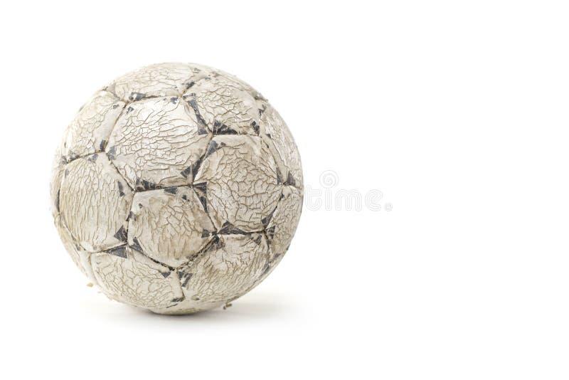 Старый несенный футбольный мяч стоковая фотография rf