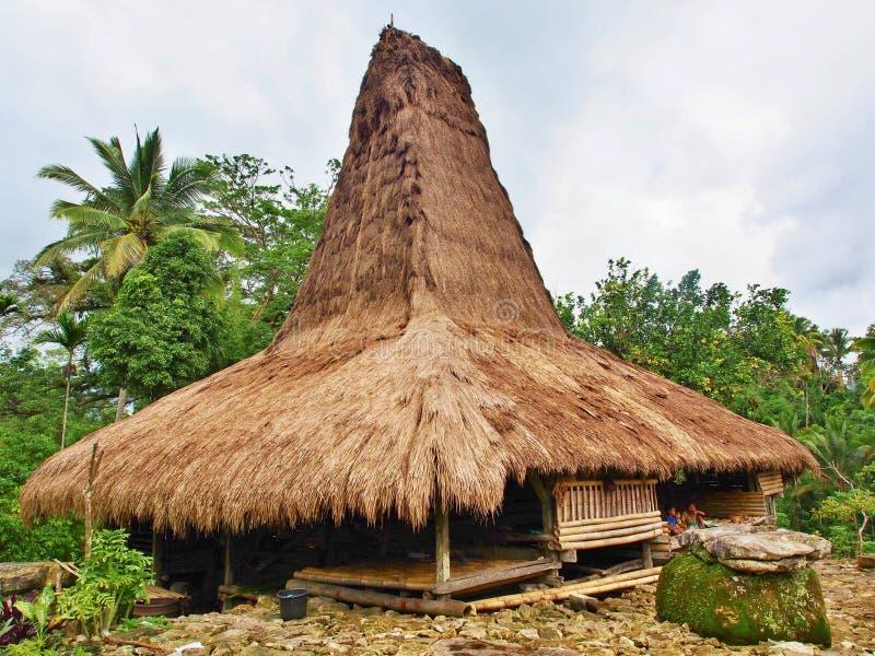 Старый дом в острове Sumba стоковые фотографии rf