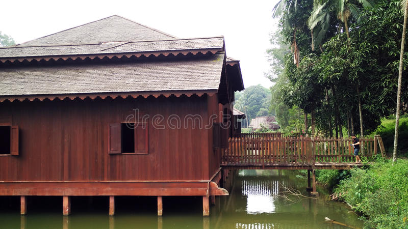Старый дом надводный в джунглях стоковое фото