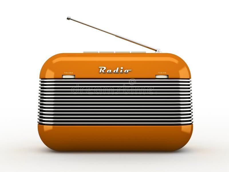 Старый оранжевый винтажный ретро радиоприемник стиля на белизне иллюстрация штока