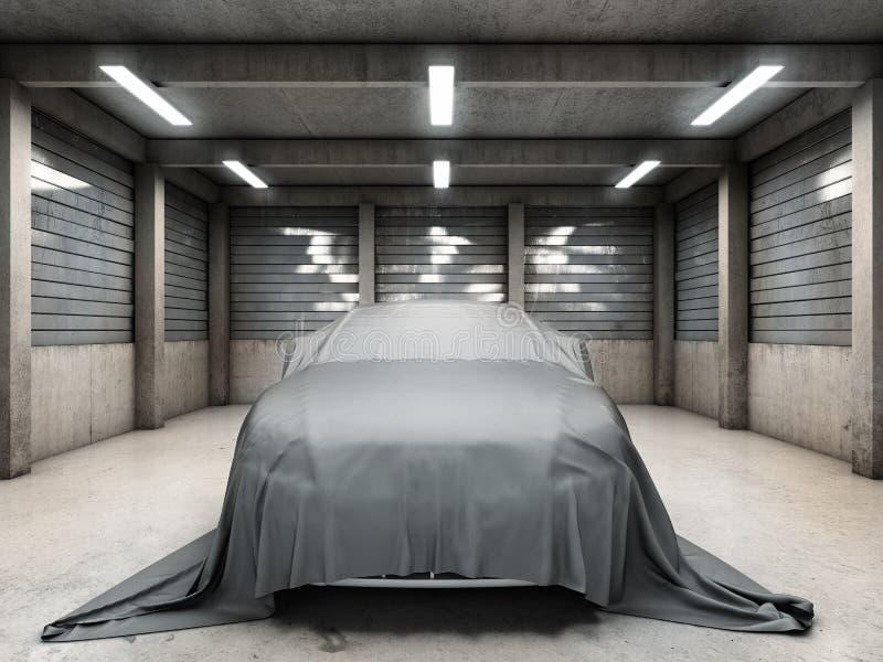 Старый пакостный гараж с автомобилем бесплатная иллюстрация