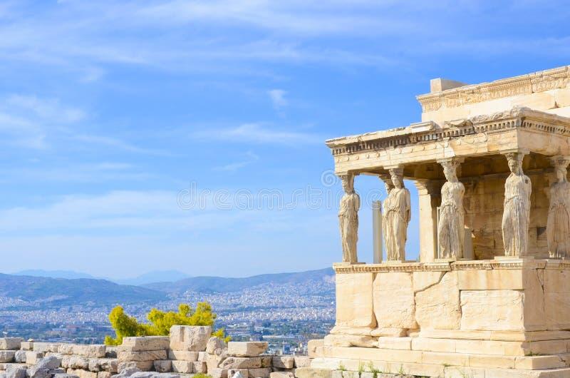 Старый Парфенон на холме акрополя, Афина, Греции стоковые фотографии rf