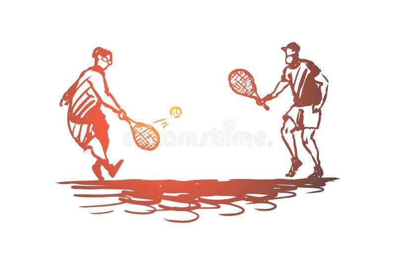 Старый, пары, игра, теннис, старшая концепция Вектор нарисованный рукой изолированный бесплатная иллюстрация