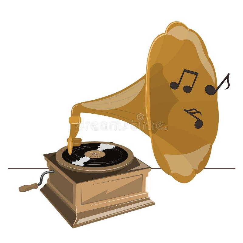 Старый патефон переплетает вектор музыки игр винила стоковые фото