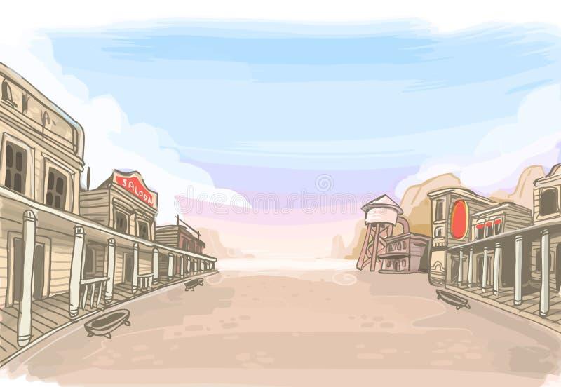 Старый пейзаж Wilde западный иллюстрация вектора