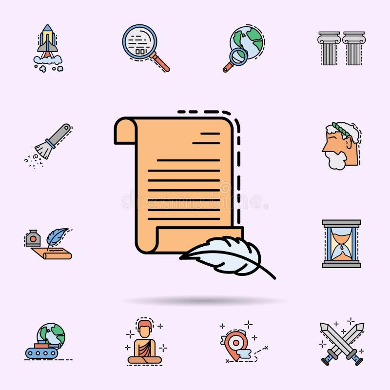 старый перечень, бумага, значок пергамента Всеобщий набор истории для дизайна вебсайта и развития, развития приложения иллюстрация вектора