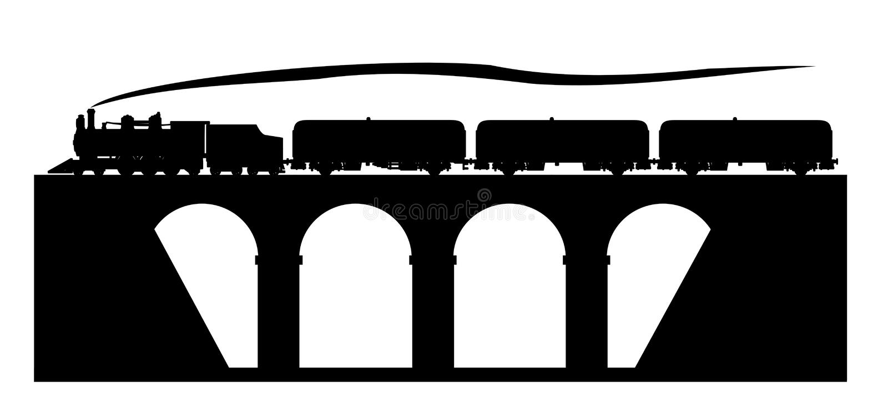 Старый поезд на мосте иллюстрация вектора