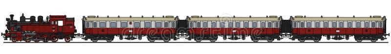 Старый поезд пара пассажира иллюстрация штока