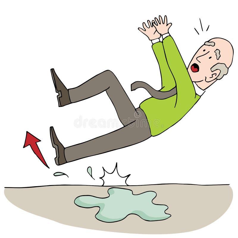 Старый пожилой старший человек смещая на влажный пол бесплатная иллюстрация