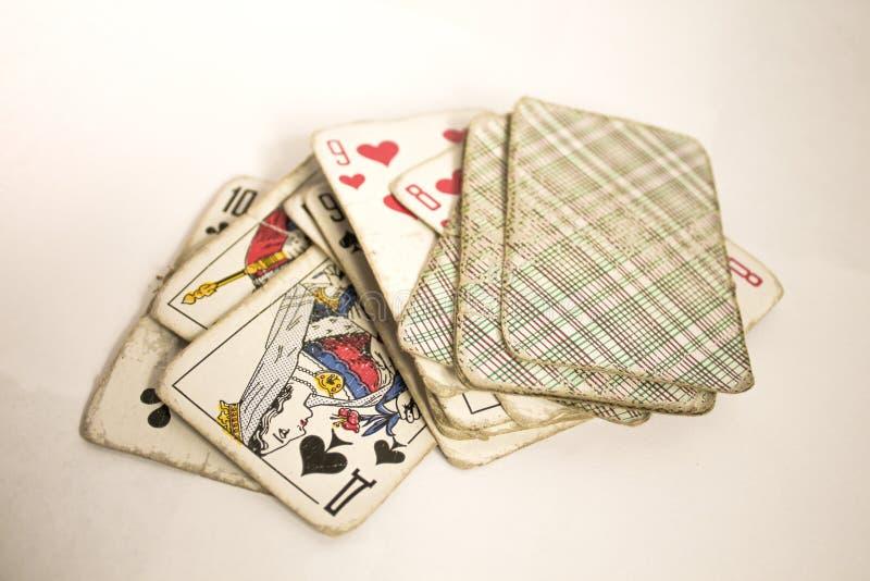 Старый поколоченный пакет перфокарт стоковое изображение