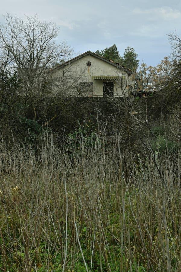 Старый получившийся отказ дом в древесинах стоковые фотографии rf