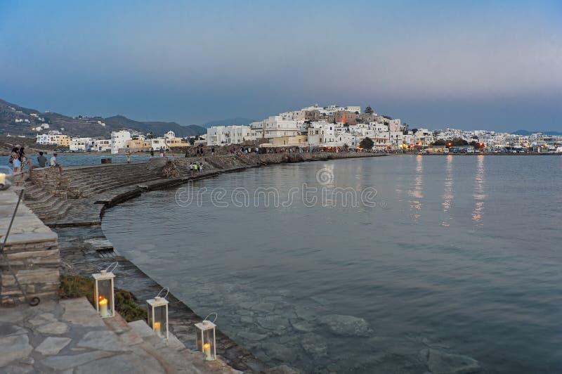 Старый порт Chora Naxos в Греции на ноче стоковые фотографии rf