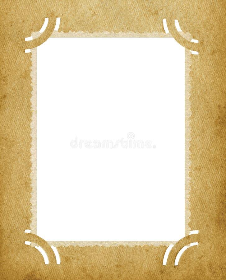 Старый постаретый вертикальный Grunge фото края текстурировал винтажной ретро открытку страницы портфолио фотоснимка пробела альб иллюстрация вектора