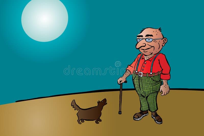 Старый постаретый человек с ручкой и собакой стоковые фотографии rf