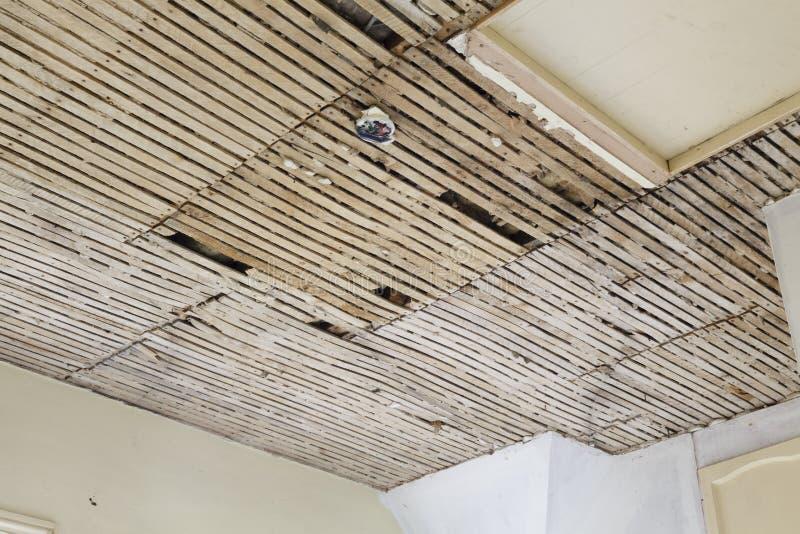 Старый потолок гипсолита и решетины стоковые изображения