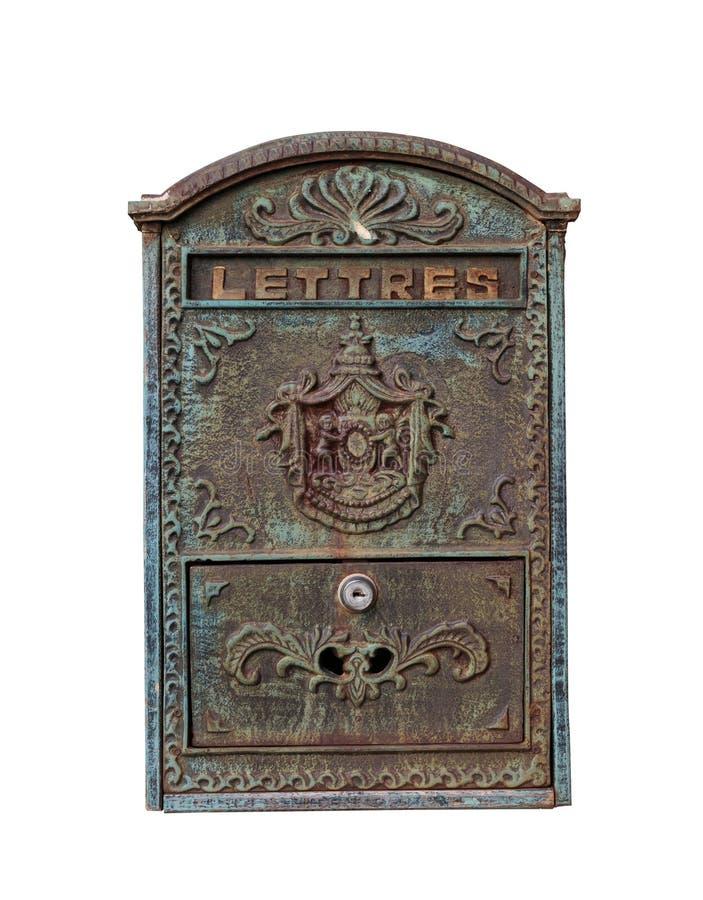 Старый почтовый ящик изолированный на белизне стоковая фотография