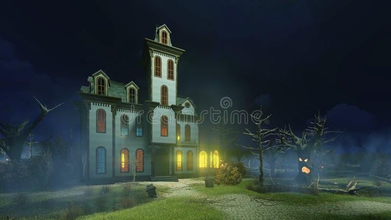 Старый преследовать особняк и на туманной ноче бесплатная иллюстрация