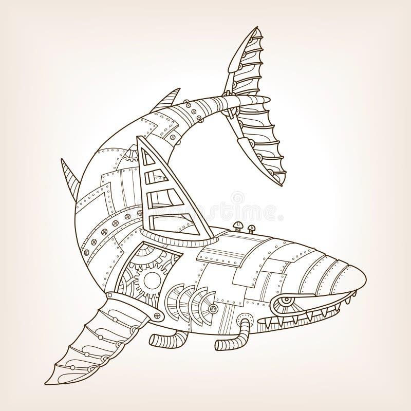 Старый проект механически вектора акулы бесплатная иллюстрация