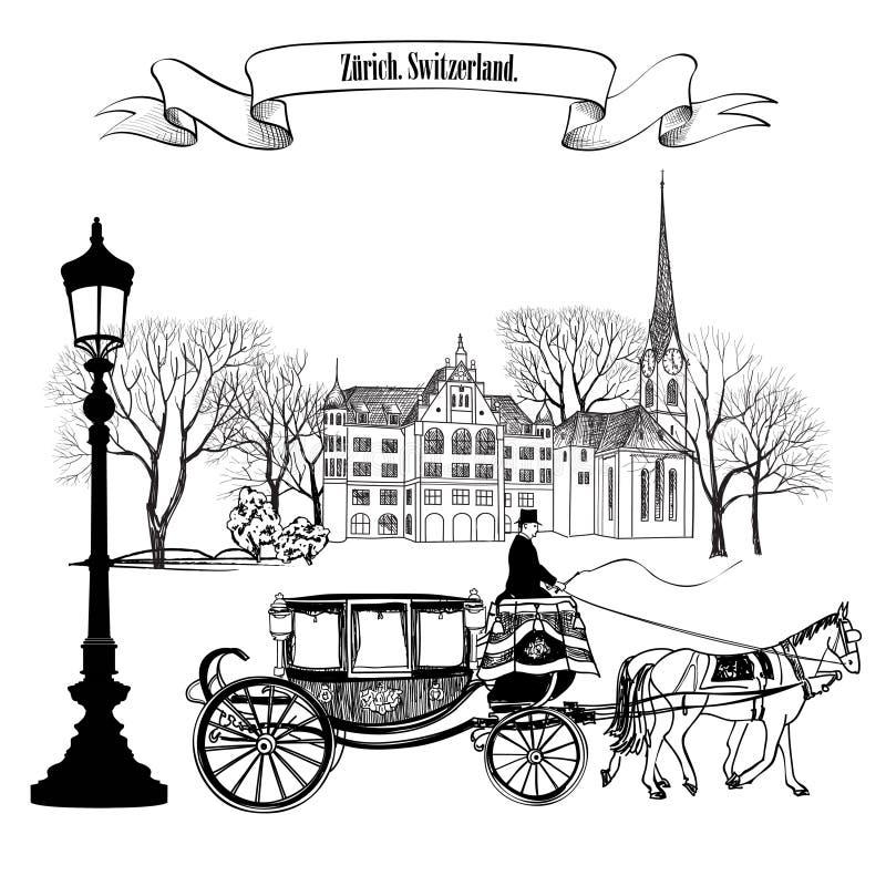 Старый проход улицы с зданиями, деревьями парка, уличным фонарем и иллюстрация вектора