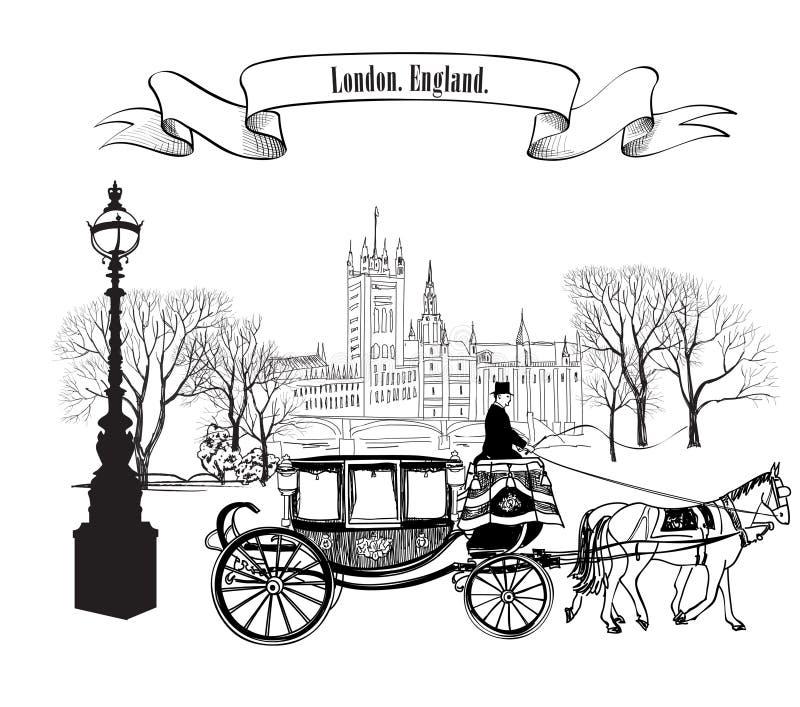 Старый проход улицы с зданиями, деревьями парка, уличным фонарем иллюстрация штока