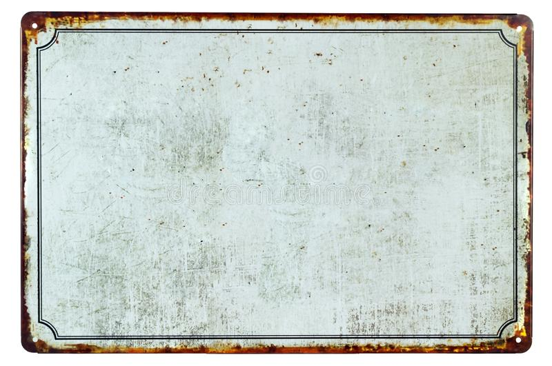 Старый пустой ржавый знак металла стоковое фото rf