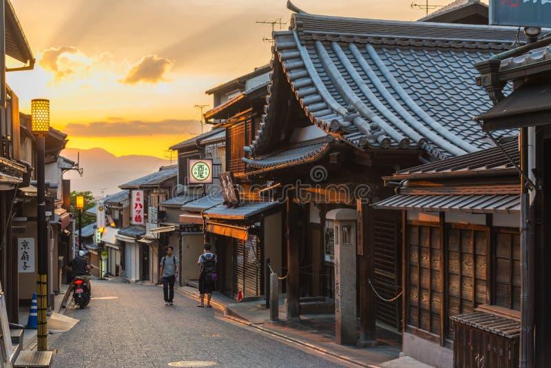 Старый район городка Киото Японии стоковое изображение