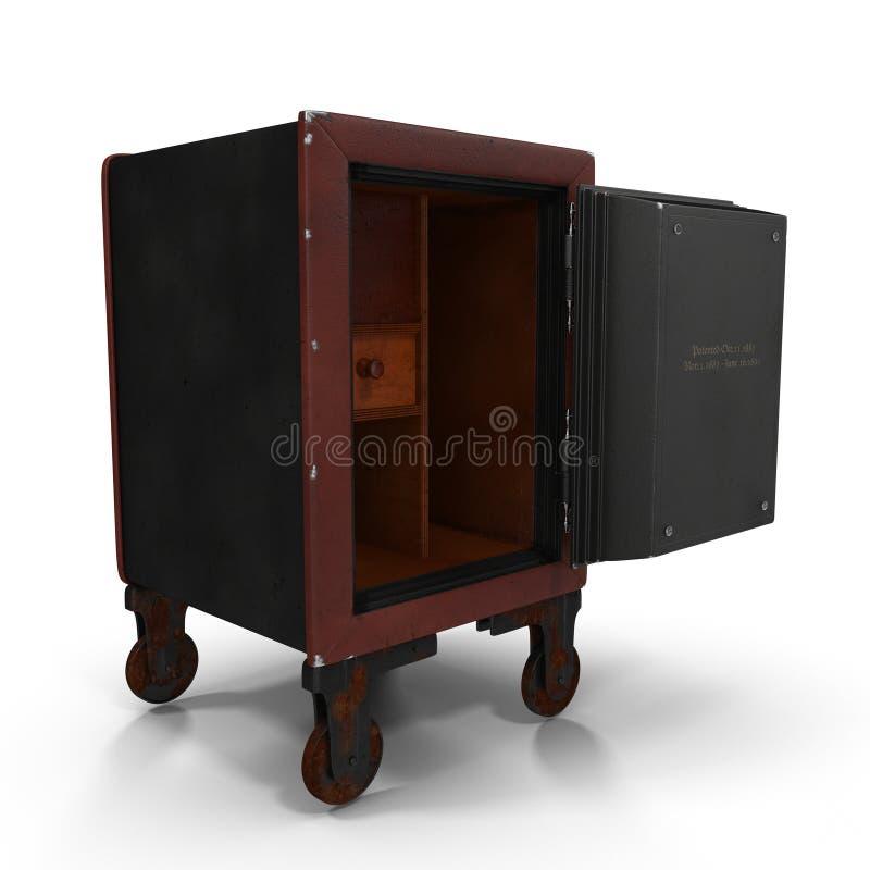 Старый раскрытый сейф Wheled красный на белизне иллюстрация штока